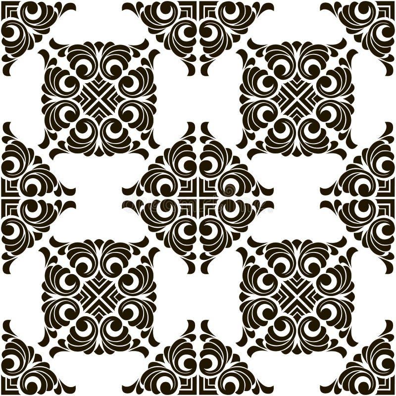 导航与几何和花饰的抽象无缝的补缀品样式, 库存例证