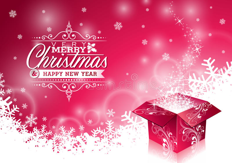 导航与印刷设计的圣诞节例证和在雪花背景的发光的不可思议的礼物盒 向量例证