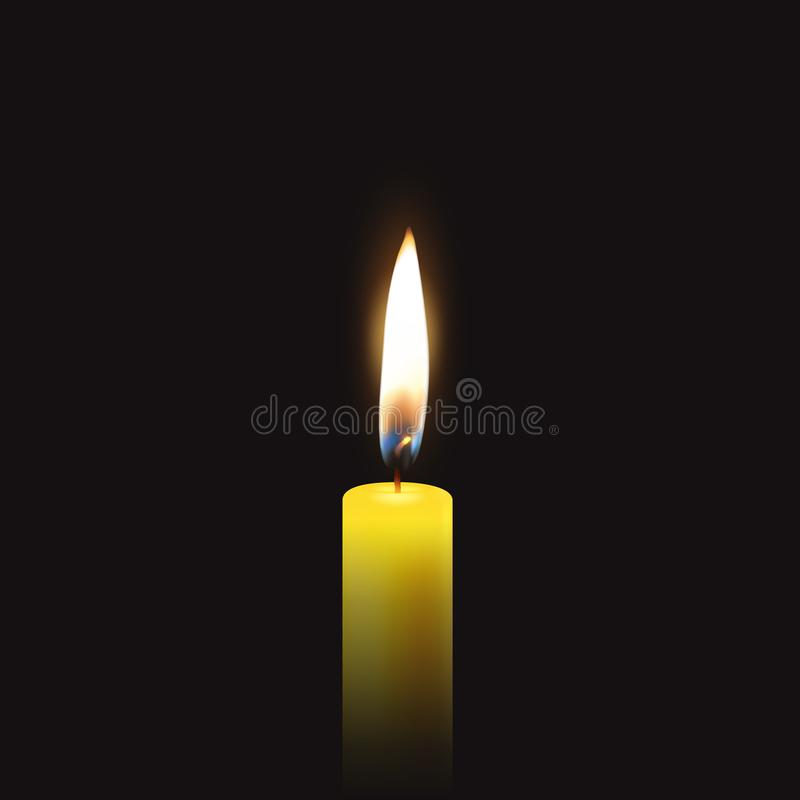 导航与唯一3d现实橙黄石蜡灼烧的蜡烛特写镜头的葬礼卡片在深黑色背景 库存例证