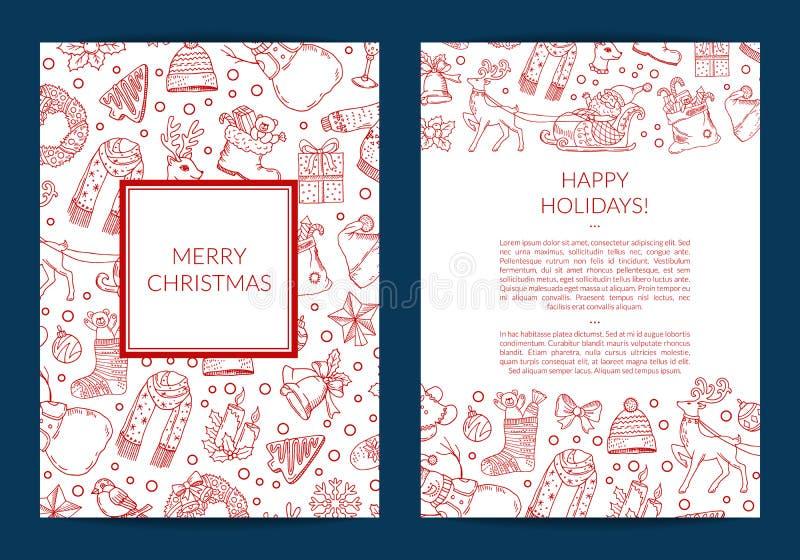 导航与圣诞老人、xmas树、礼物和响铃卡片模板的手拉的圣诞节元素 皇族释放例证