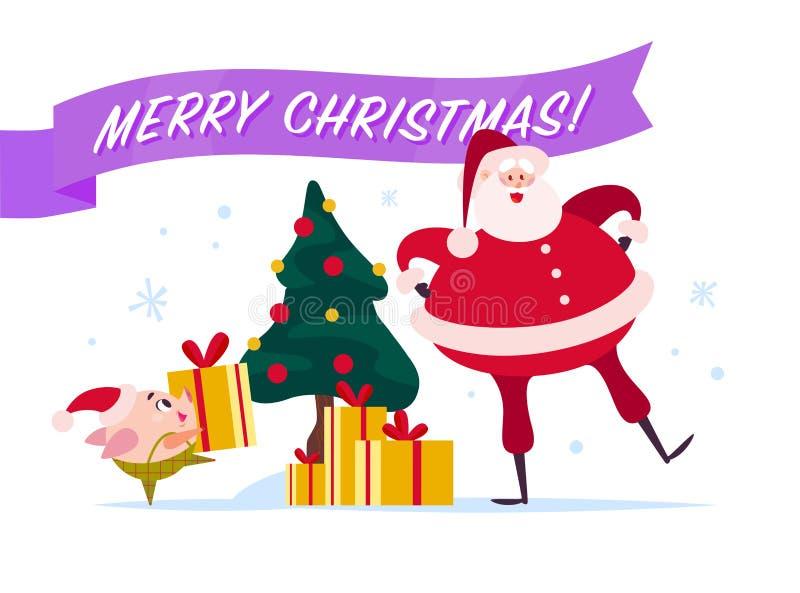 导航与圣诞老人,矮子在装饰的新年杉树运载礼物盒的逗人喜爱的猪, xmas holida的平的圣诞快乐例证 向量例证