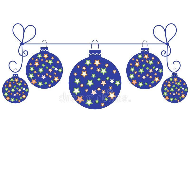 导航与圣诞节球的图片与垂悬在绳索的星 皇族释放例证
