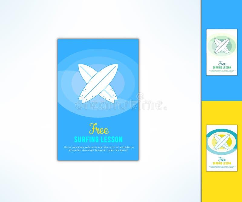 导航与在现代平的设计的冲浪的教训广告飞行物 海浪类广告设计元素 库存例证