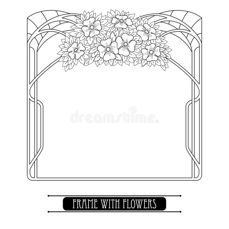导航与在白色和叶子在艺术Nouveau或现代样式在黑色隔绝的风格化花束的框架花 向量例证