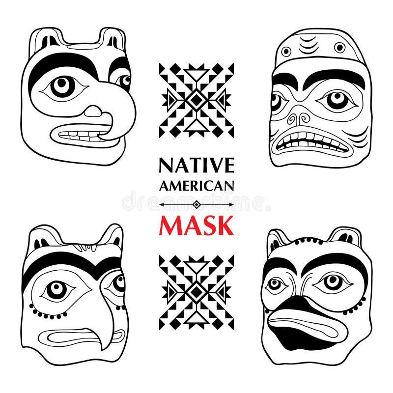 导航与在白色背景隔绝的美国本地人礼节面具的汇集 特里吉特人种族神圣的面具 库存例证