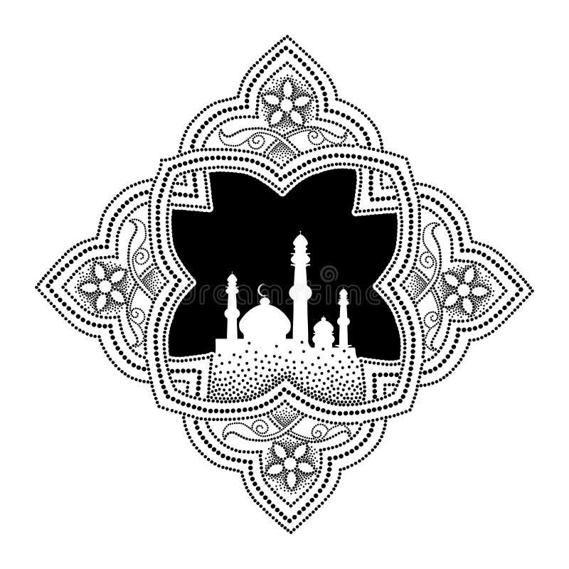 导航与在白色背景黑色的隔绝的清真寺剪影的被加点的蔓藤花纹  在阿拉伯样式的元素赖买丹月的 库存例证