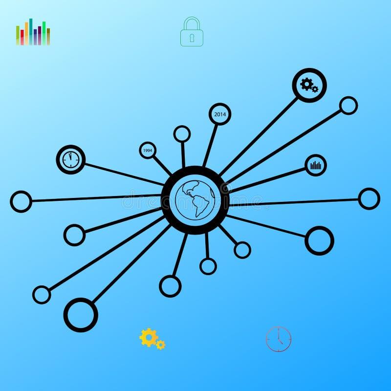 导航与地方的世界信息图表模板您的内容的 库存例证
