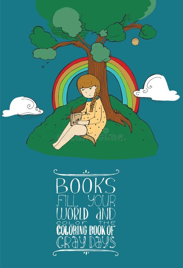 导航与坐在树和阅读书下的逗人喜爱的女孩的例证和教育刺激在上写字关于书和ho 库存例证