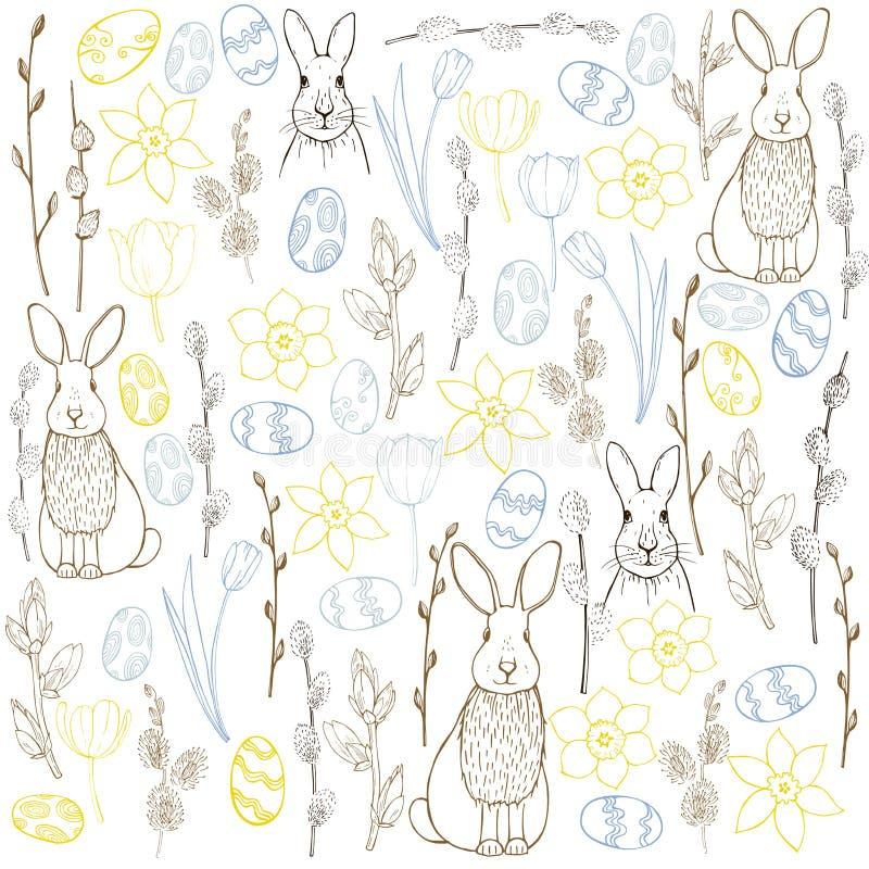 导航与复活节兔子、鸡蛋和花的背景 库存例证