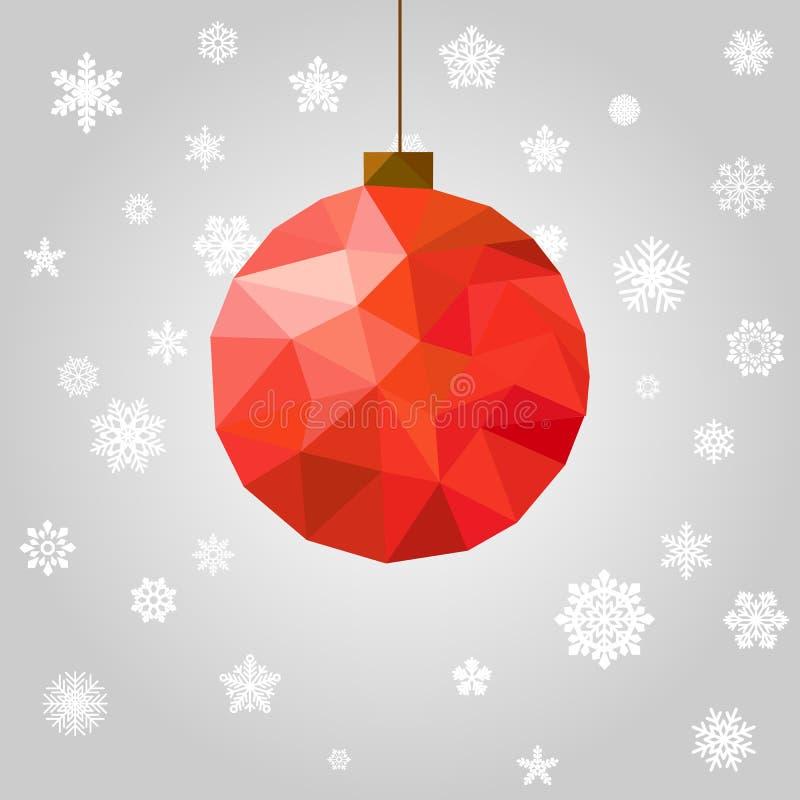 导航与多角形球的新年和圣诞节贺卡 向量例证