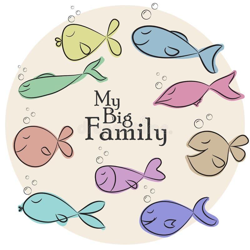 导航与大套的例证滑稽的鱼和我的大家庭词组在米黄背景 库存例证