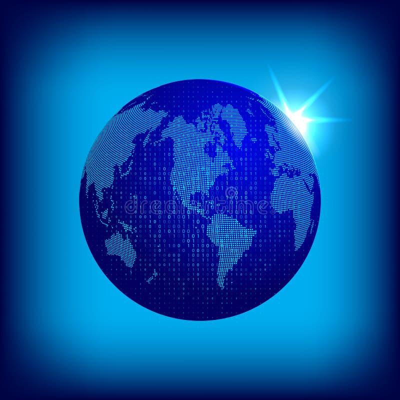 导航与对偶码覆盖物的被加点的世界地图 Tecnology概念例证 与被加点的大陆的地球地球  库存例证
