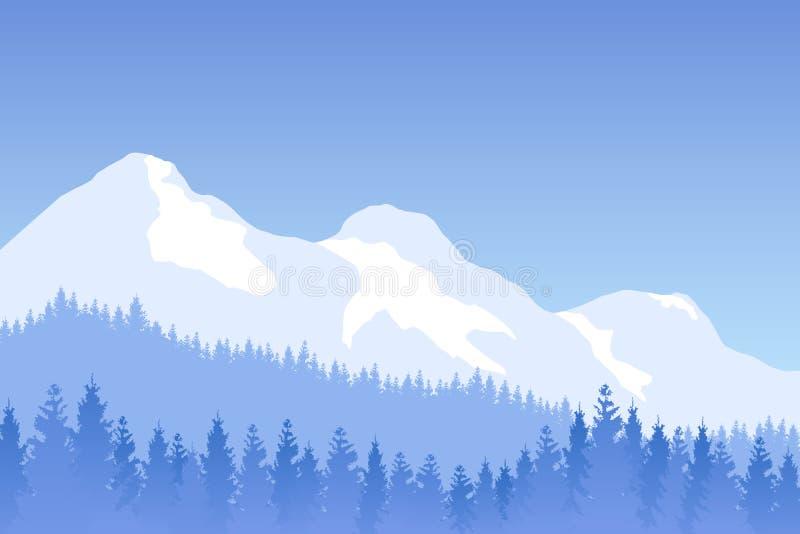 导航与山的冬天树木丛生的风景在蓝色颜色 库存例证