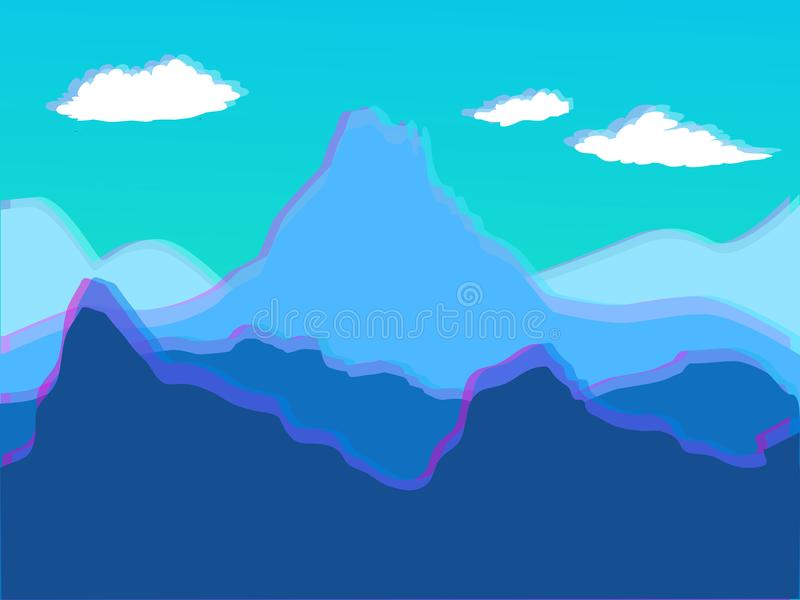 导航与山立体音响的蓝色风景-卡片的, backgrou 库存例证