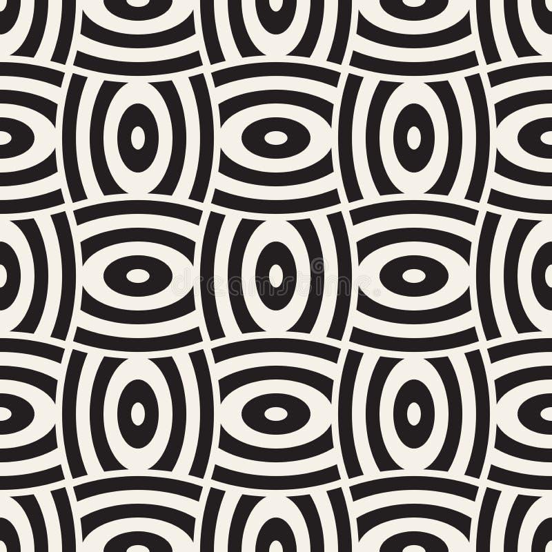 导航与弯曲的形状栅格的几何无缝的样式 抽象黑白照片被环绕的格子纹理 现代纺织品背景 皇族释放例证