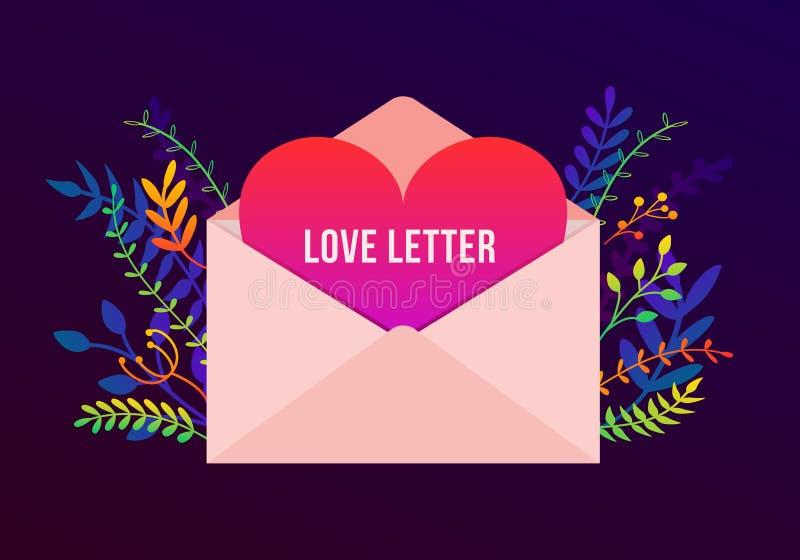 导航与情书概念、植物和花的时髦愉快的情人节例证 与大信封的贺卡 库存例证