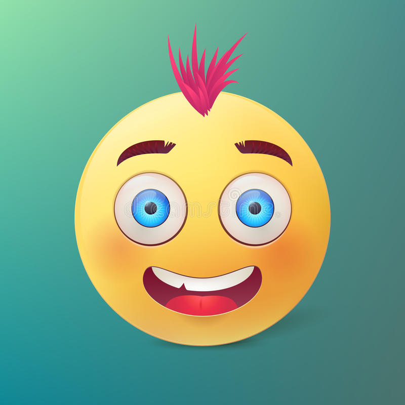 导航与愉快的微笑的面孔和桃红色头发的黄色球 库存例证