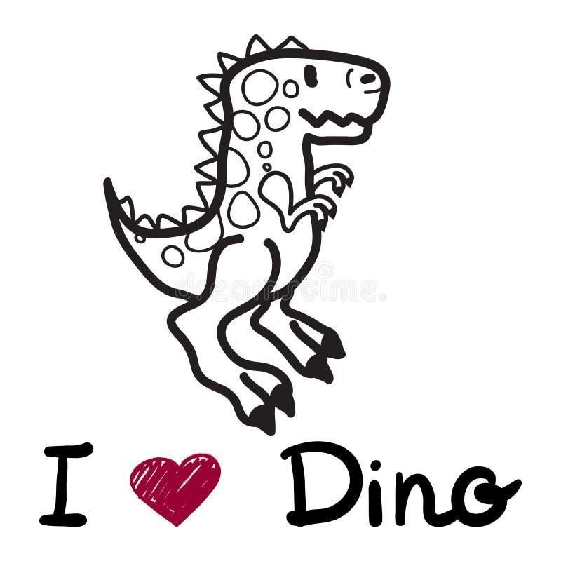 导航与我爱迪诺的词的逗人喜爱的动画片恐龙 库存例证