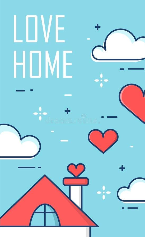 导航与房子、心脏和云彩的横幅在蓝色背景 稀薄的线平的设计 看板卡日设计dreamstime绿色重点例证s传统化了华伦泰向量 库存例证