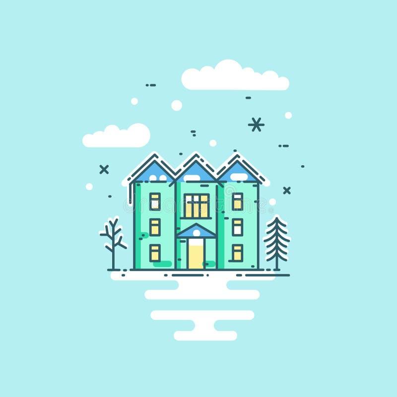 导航与房子、树、云彩和雪的平的线例证 向量例证
