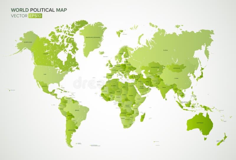 导航与所有国家的名字的政治地图绿色梯度颜色的,传染媒介例证 皇族释放例证