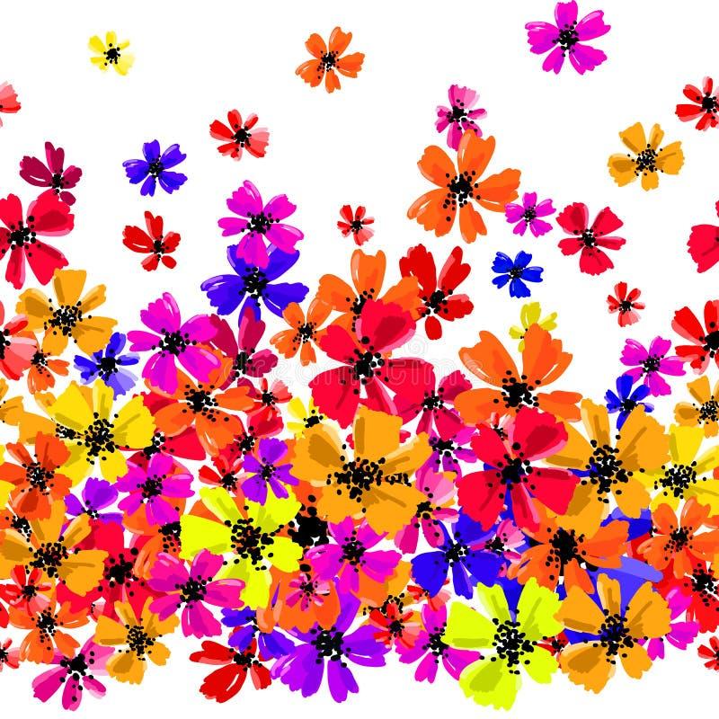 导航与手图画花的无缝的边界,多色明亮的艺术性的植物的例证,被隔绝的花卉 库存例证