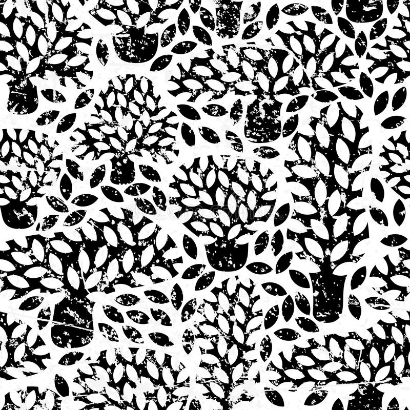 导航与手拉的乱画树和难看的东西可移动的纹理的黑白无缝的样式 向量例证