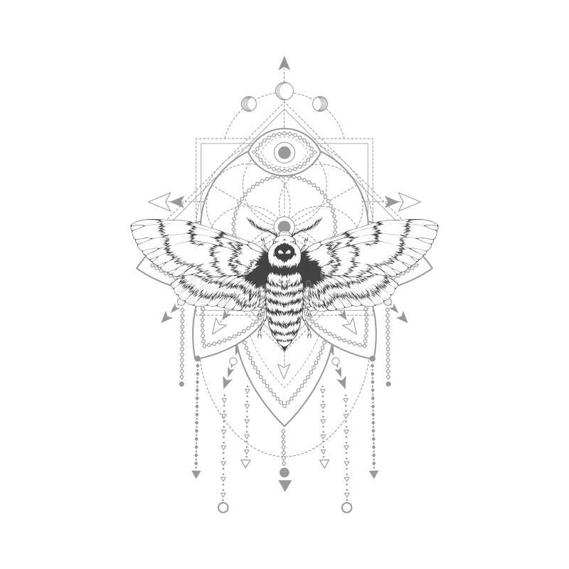 导航与手拉的免票的人飞蛾的例证和在白色背景的神圣的几何标志 抽象神秘的标志 皇族释放例证
