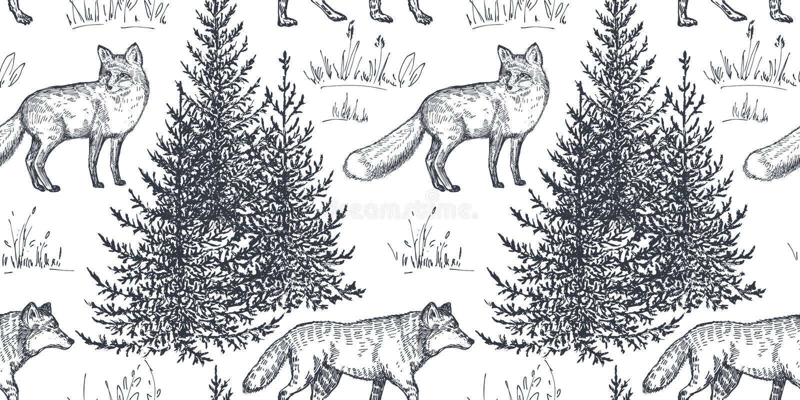 导航与手拉的动物和树的无缝的样式 库存例证