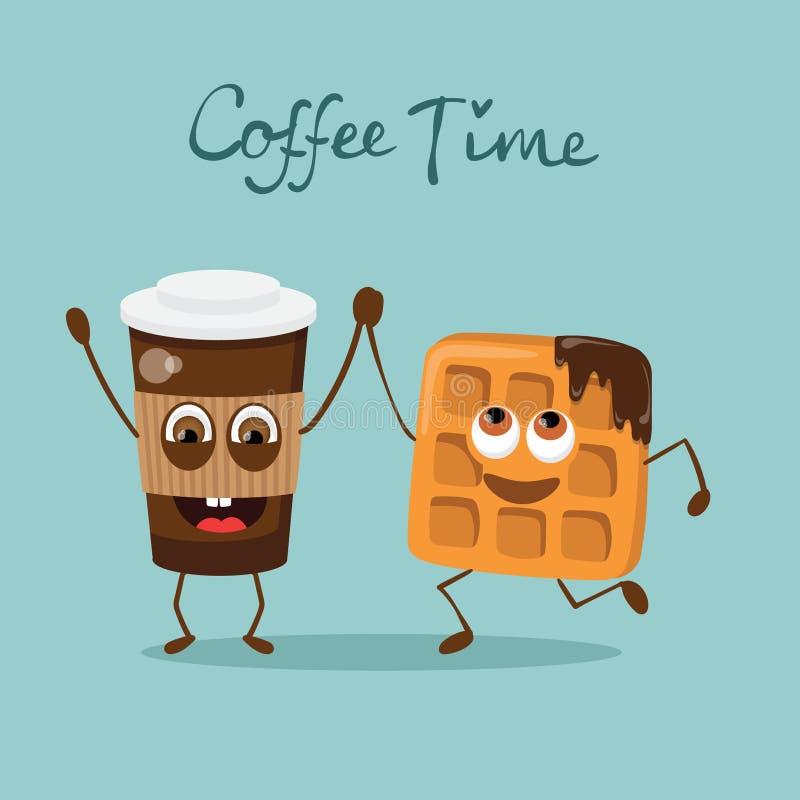 导航与手拉的字法-咖啡timeCoffee时间的卡片 皇族释放例证