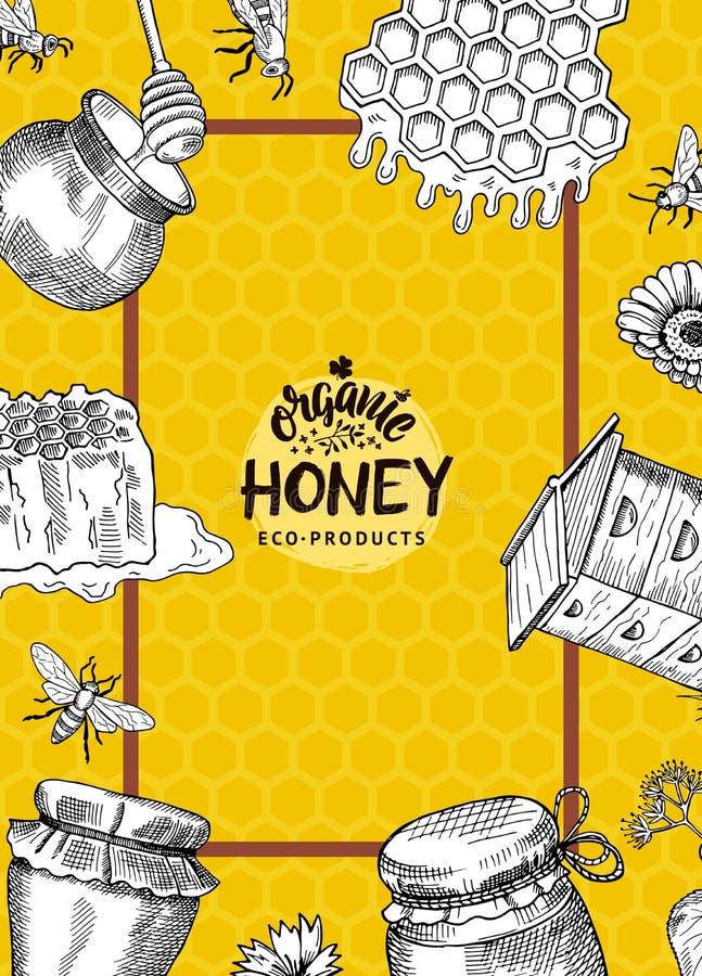 导航与手拉的蜂蜜元素的例证或飞行物模板蜂蜜农场的 皇族释放例证