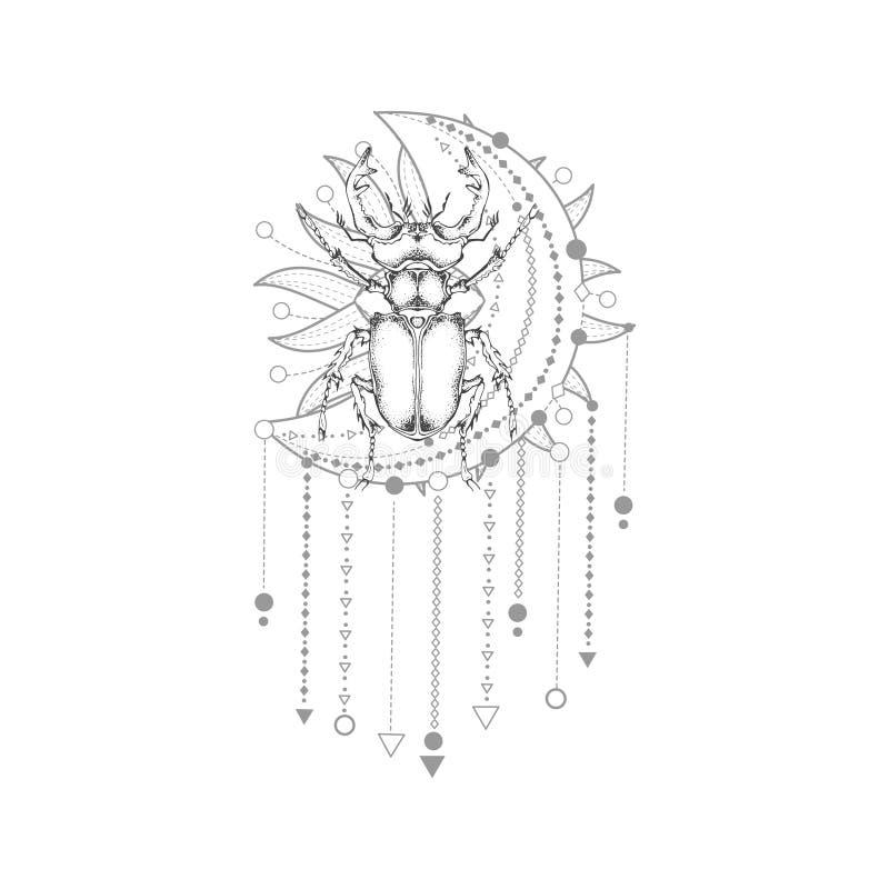 导航与手拉的锹虫的例证和在白色背景的神圣的几何标志 抽象神秘的标志 皇族释放例证