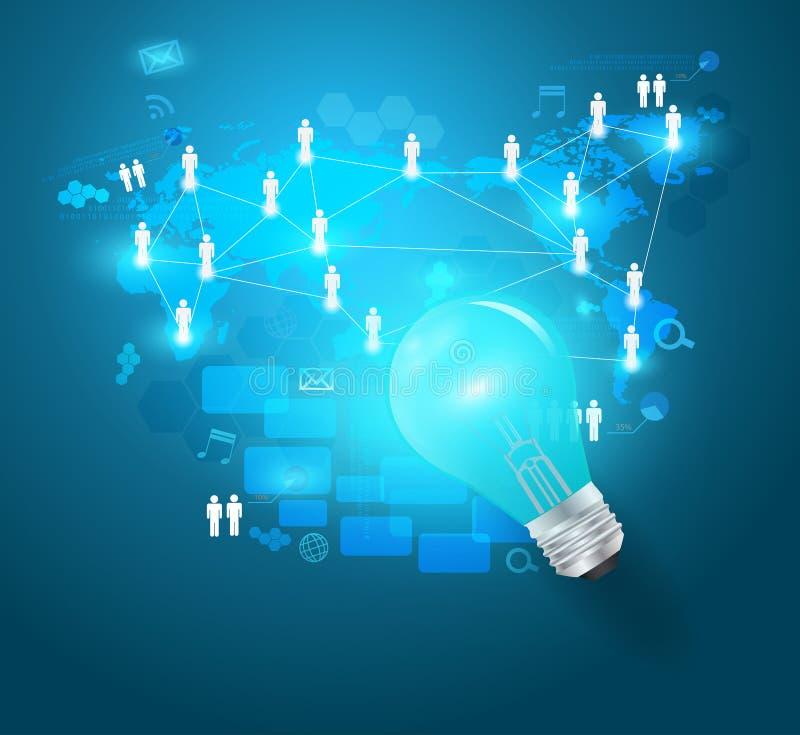 导航与技术事务的创造性的电灯泡想法 皇族释放例证