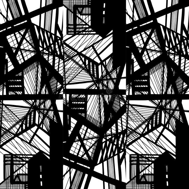 导航与抽象都市装饰品的手拉的无缝的样式 库存图片