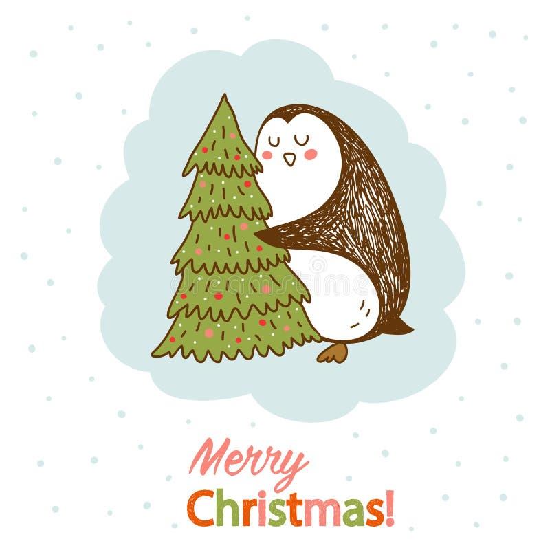 导航与拥抱圣诞树的企鹅的明信片 库存照片