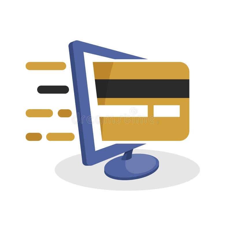 导航与数字式媒介概念的象例证关于与信用或转账卡的网上付款交易 皇族释放例证