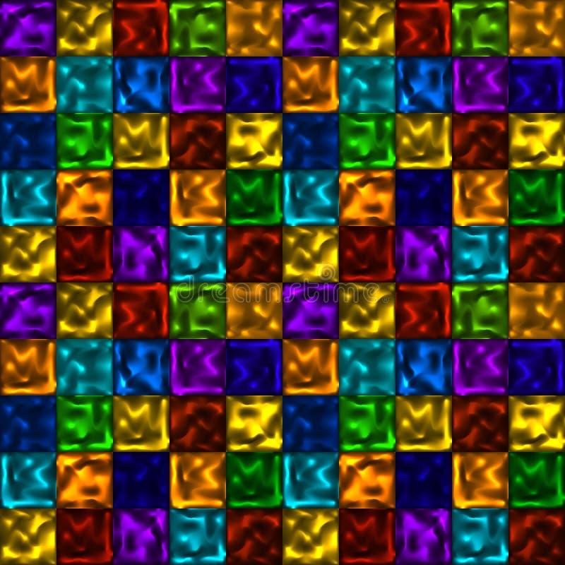 导航与方形的霓虹元素的明亮的五颜六色的无缝的样式 向量例证