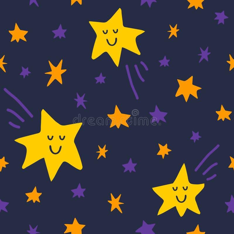 导航与星和彗星的无缝的样式在黑暗的天空背景 向量例证