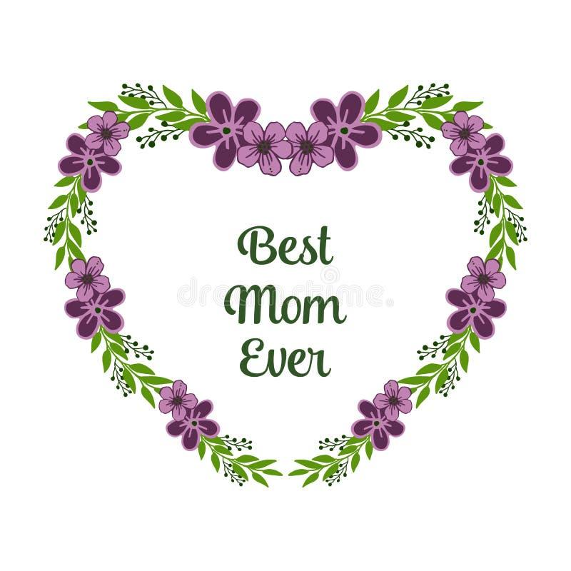 导航与最佳的妈妈海报的例证非常美好的紫色花圈框架  库存例证