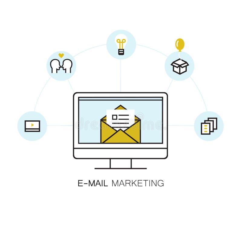 导航与来自屏幕和套的被打开的信封的线型例证在圈子的电子邮件象 库存例证