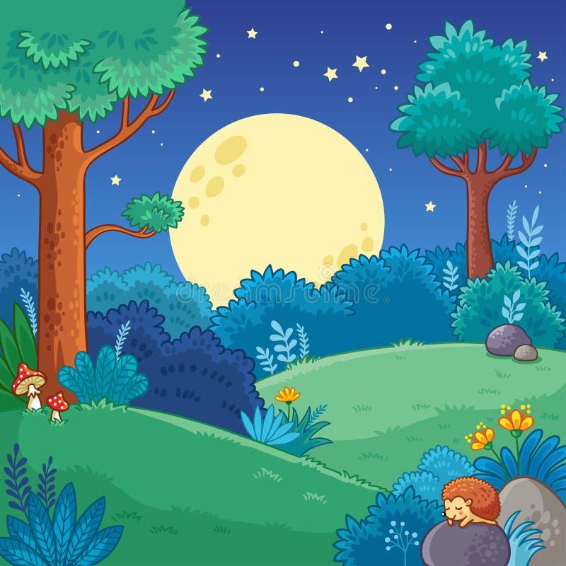 导航与树的在动画片样式的例证和月亮 皇族释放例证