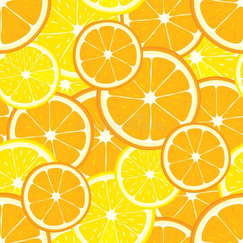 导航与桔子和柠檬切片的无缝的背景 向量例证