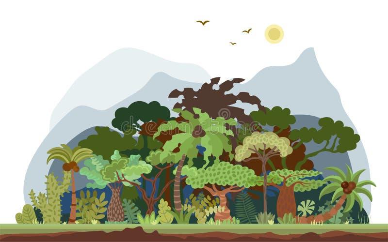 导航与棕榈和其他热带树的热带雨林风景 热带森林全景例证 平面 向量例证