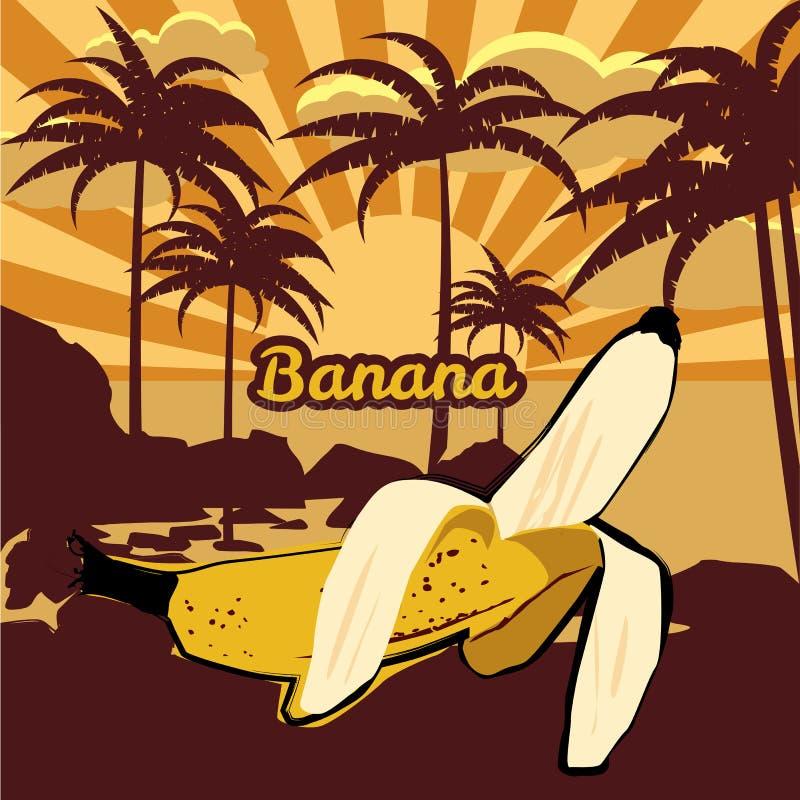 导航与棕榈树,棕榈剪影,香蕉,海滩,海,海洋,传染媒介,被隔绝, baner的花卉热带背景 皇族释放例证