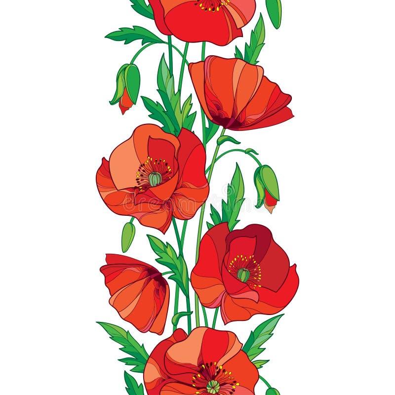 导航与概述红色鸦片花、芽和绿色叶子的高雅无缝的样式在白色背景 垂直的边界 向量例证