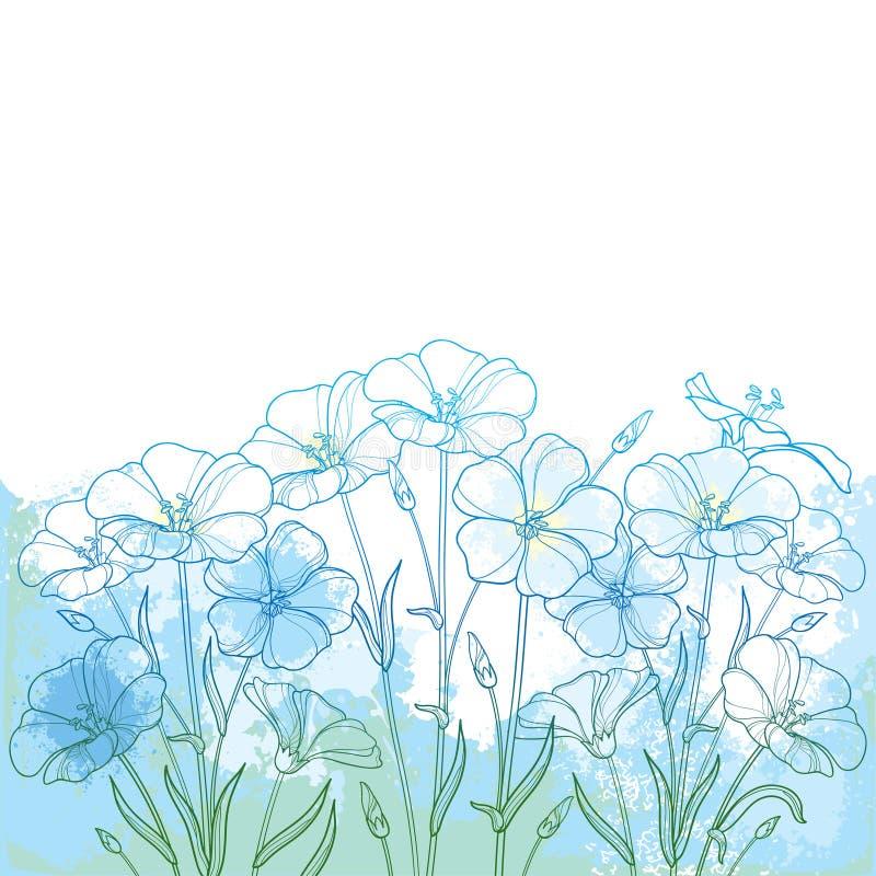 导航与概述胡麻植物或油麻或Linum花束的花束、芽和叶子在蓝色在织地不很细淡色背景 库存例证