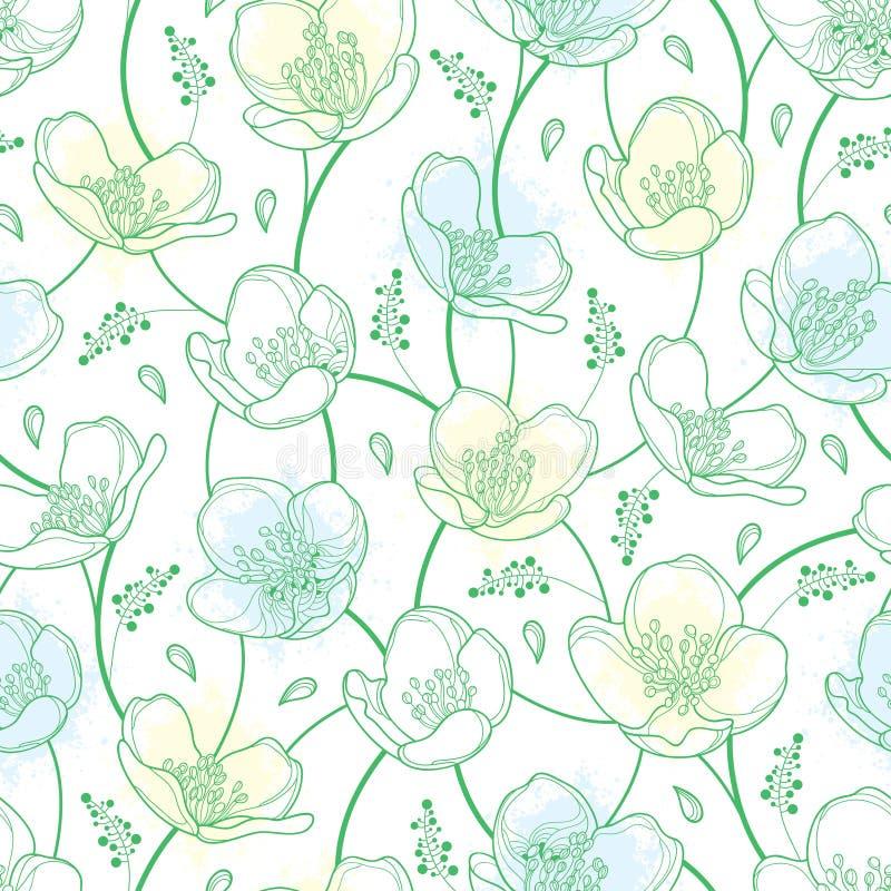 导航与概述茉莉花花的无缝的样式在淡色白色和绿色在白色背景 高雅花卉背景 皇族释放例证
