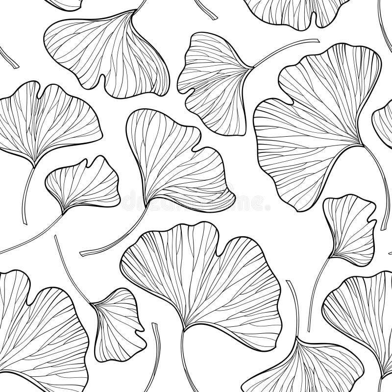 导航与概述银杏或银杏树biloba叶子的无缝的样式在白色背景的黑色 与银杏的花卉样式 向量例证