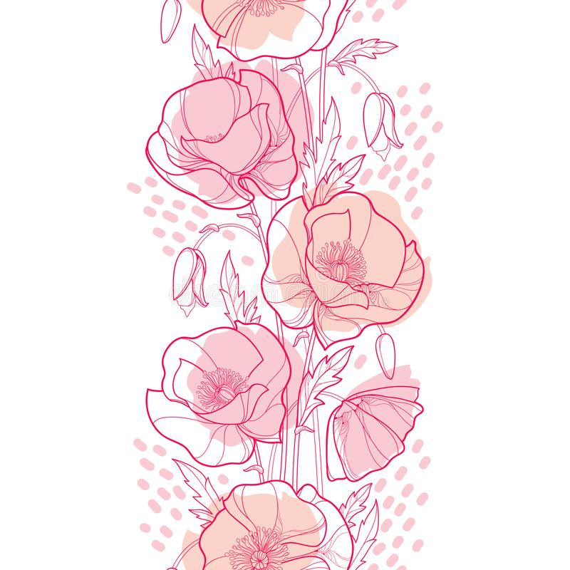 导航与概述鸦片花、芽和叶子的高雅无缝的样式在白色背景的粉红彩笔 皇族释放例证