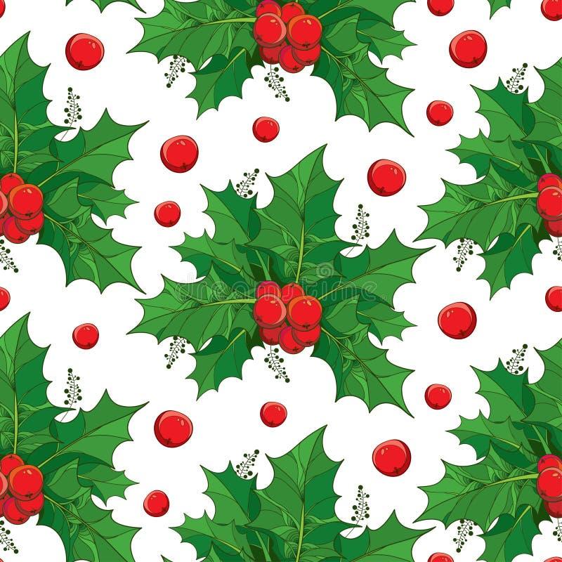 导航与概述绿色叶子和冬青属或欧洲霍莉红色莓果的无缝的样式在白色背景 向量例证